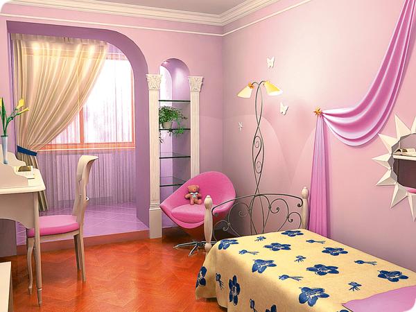 Дизайн комнаты с балконом для девочки.