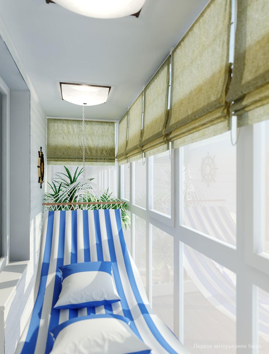 Балкон в морском стиле для отдыха