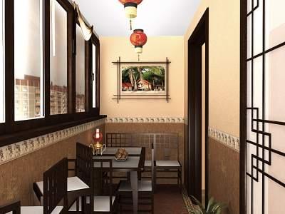 Оформление интерьера балкона в восточном стиле