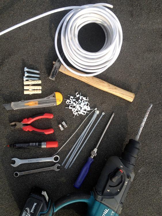 Инструменты для установки антенны