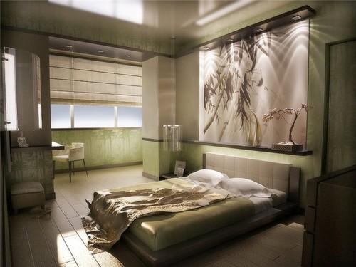 Дизайн интерьера спальни с балконом или лоджией