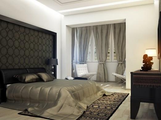 дизайн спальни совмещенной с балконом и лоджией фото идеи