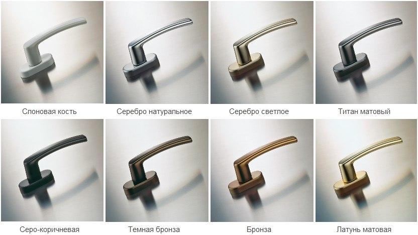 Ручки для балконных дверей разных цветов
