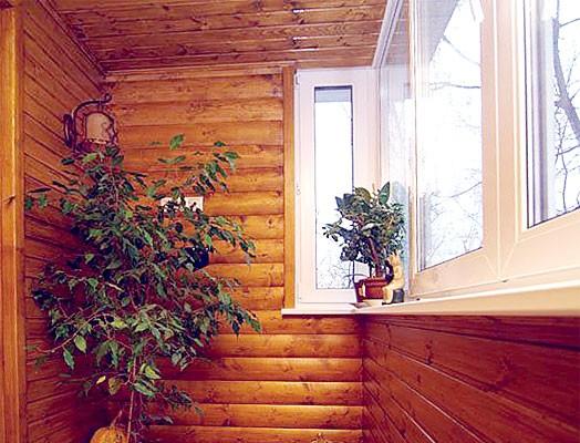 Внутренняя обшивка балкона блок хаусом