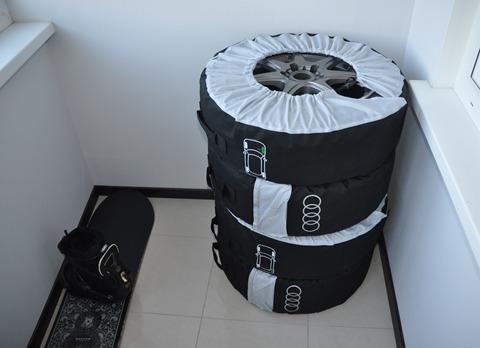 Хранение колес с дисками в чехлах